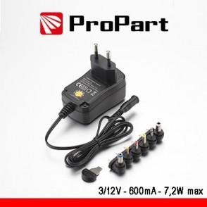 Alimentatore Switching Multitensione 3-12V 600mA 7.2W max