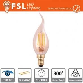 Lampada Colpo di Vento Filamento Ambra - 4W 2200K E14 300LM