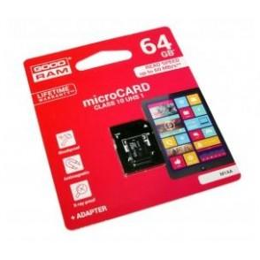 microSD GoodRAM 64GB class 10 UHS I + adpter, ret. blister