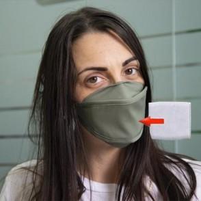 Mascherina in cotone lavabile Porta-Filtro Verde Scuro TG:L